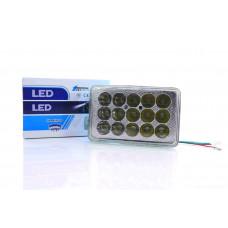 Модуль светодиодный в фару (вставка)  ZS125/150  квадратный, 15 диодов, 8/85VDC, 30W  со стеклом
