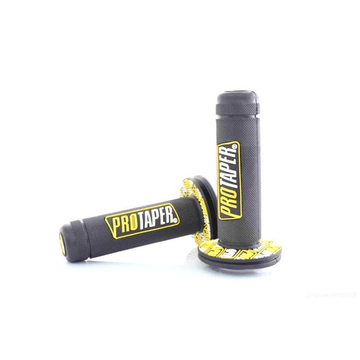 """Ручки руля  универсальные  черные  """"PRO TAPER""""  (желто-белый логотип)"""